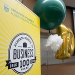 Centennial banners, giant '100' balloons, and colored balloons decorated the 'Viewing & Reflection Lounge'.