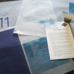Special Event Rentals 'Planner of the Month' Display - Vellum Wraps, Programs and Name Cards